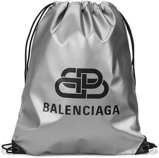 Balenciaga Explorer silver logo-print backpack