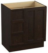 Kohler Damask 30 Vanity Base Only with Furniture Legs and 2 Doors Base Finish: Claret Suede, Cabinet Configuration: Only doors, Leg Style: Legs