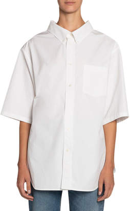 Balenciaga Button-Down Short-Sleeve Swing Shirt