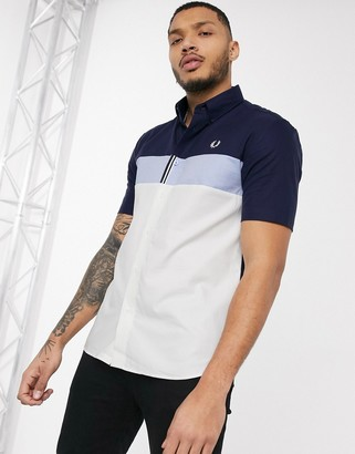 Fred Perry colour block short sleeve shirt in blue and navy
