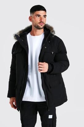 boohoo Mens Black Faux Fur Hooded Arctic Parka, Black