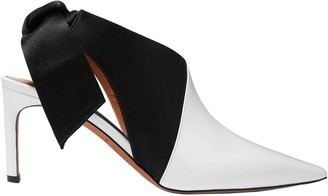 Altuzarra Knotted Satin-paneled Patent-leather Slingback Pumps