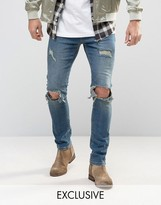 Mennace Slim Jeans With Rips In Mid Wash