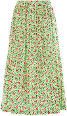 American Vintage Chipiecat Gathered Floral-print Cotton-jersey Midi Skirt