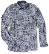 Visconti Flocked Paisley Long-Sleeve Woven Shirt
