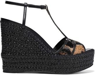 Sergio Rossi Easy Puzzle Cutout Leather And Printed Calf Hair Wedge Sandals