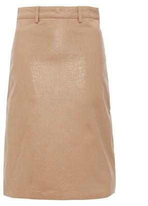 Dodo Bar Or Lolita Crocodile-effect Leather Skirt - Beige