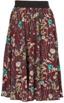 *Tenki Maroon Floral Midi Skirt