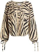 Current/Elliott The Studio 338 Zebra-Print Linen-Blend Blouse
