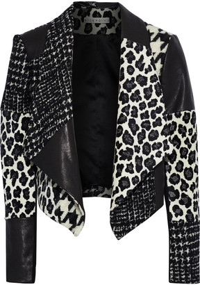 Alice + Olivia Harvey Wool-blend Jacquard, Tweed, Jersey And Leather Jacket