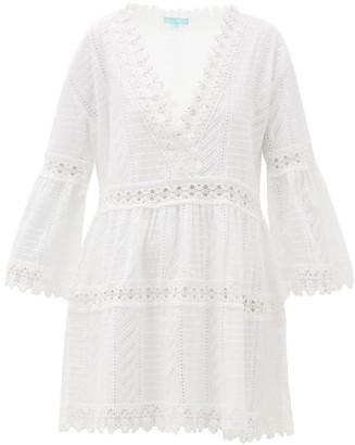 Melissa Odabash Victoria V-neck Broderie-anglaise Cotton Dress - Womens - White