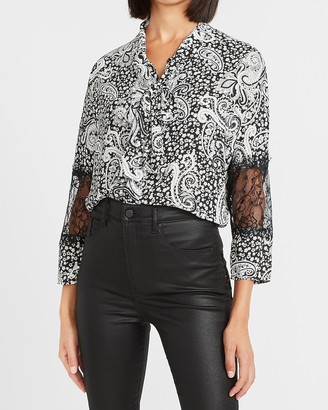 Express Paisley Lace Sleeve Tie Neck Shirt