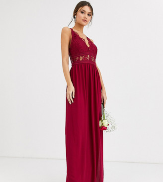 TFNC Bridesmaid halter neck maxi dress with lace inserts in mulberry-Red