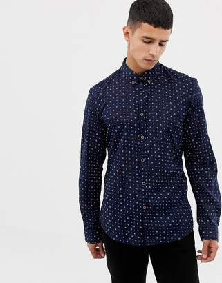 Tom Tailor long sleeve shirt with ditsy print in navy