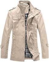 uxcell Allegra K Men Long Sleeve Windbreaker Single Breasted Trench Coat