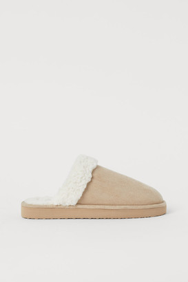H&M Faux Fur-lined Slippers - Beige