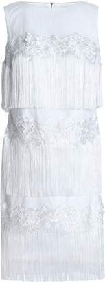 Badgley Mischka Fringed Embroidered Tulle Dress