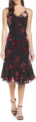 Harlyn Velvet Burnout Cowl Neck Slip Dress