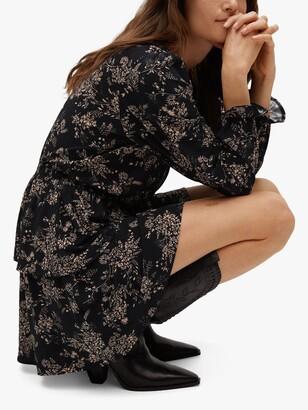 MANGO Floral Wrap V-Neck Mini Dress, Sand