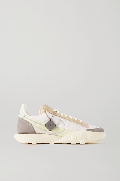 Nike Waffle Racer Nrg Leather-trimmed Ripstop And Suede Sneakers - Beige