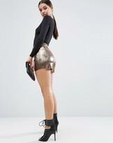 Asos Metallic Pleated Plisse Culotte Shorts