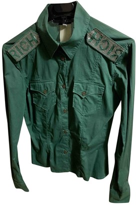 John Richmond Green Cotton Top for Women Vintage