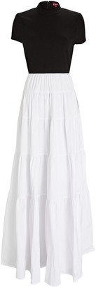 STAUD Gage Tiered Colorblock Maxi Dress
