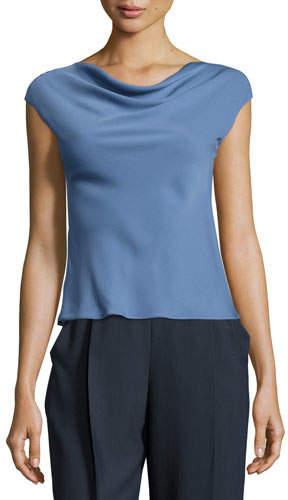 Armani Collezioni Charmeuse Cowl-Neck Cap-Sleeve Blouse, Medium Blue