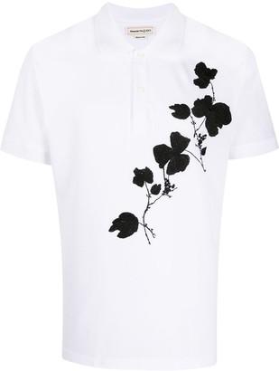 Alexander McQueen Floral Embroidered Polo Shirt