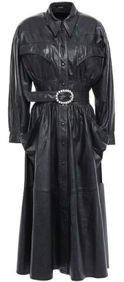 Dodo Bar Or Alison Belted Crystal-embellished Leather Midi Dress