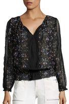 Joie Grazia Ikat Floral Printed Silk Blouse