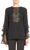 Andrew Gn Silk Tier-Sleeve Blouse