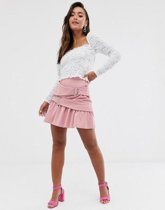 Asos DESIGN wrap mini skater skirt with crystal buckles