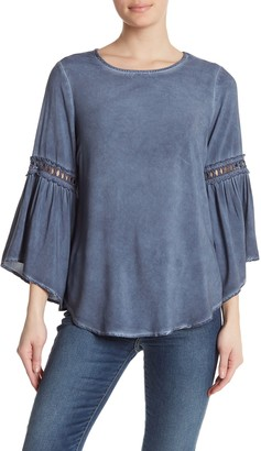 Spense Washed Bell Sleeve Woven Top