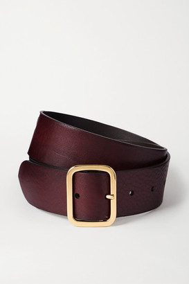 Andersons Textured-leather Belt - Burgundy