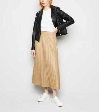New Look Suedette Pleated Midi Skirt