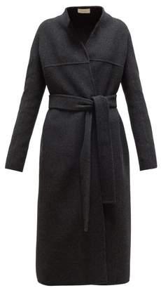The Row Luisa Belted Wool-blend Coat - Womens - Dark Grey