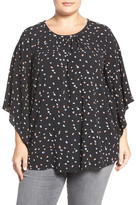 Vince Camuto &Animal Pop& Print Kimono Sleeve Blouse (Plus Size)