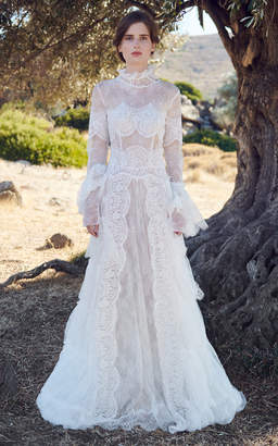 Costarellos Althea Sheer Lace Gown