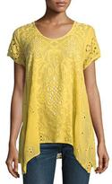 Johnny Was Wicktoria Georgette Eyelet Top, Soft Citron