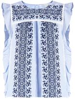 Veronica Beard Cece Embroidered Eyelet Ruffle Top