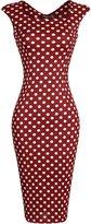 jeansian Women's Vintage Sleeveless Plaid & Polka Dots Bodycon Dress WKD277 WineRed S