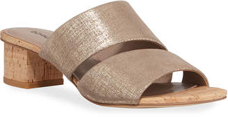 Donald J Pliner Margret Metallic Two-Band Slide Sandals