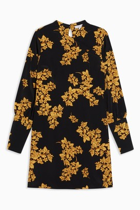 Topshop Womens Tall Black Floral Printed Mini Dress - Black