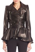 Alexander McQueen Peplum-Hem Leather Moto Jacket
