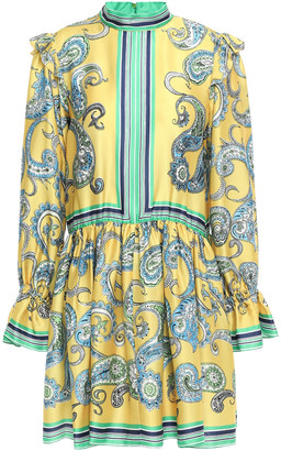 Philosophy di Lorenzo Serafini Ruffle-trimmed Printed Satin-twill Mini Dress