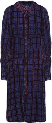 Carven Gathered Devore-velvet Shirt Dress