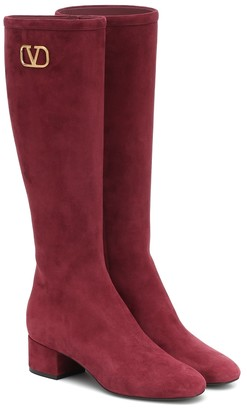 Valentino VLOGO suede knee-high boots