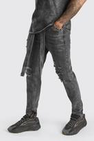 boohoo Mens Grey Skinny Rigid Ripped Jeans With Denim Belt, Grey