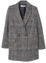 Mango Outlet Check wool-blend coat